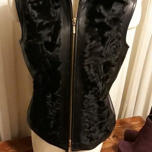 Leather with fur Vest